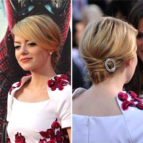 Simple Low Bun Short Hairstyles for Christmas Party