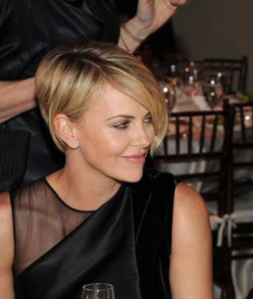 Charlize Theron Platinum Pixie Hair Style