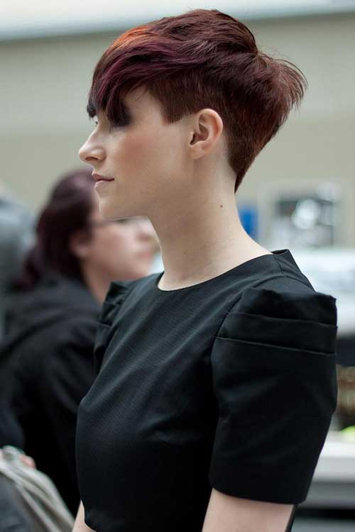 Simple Red Shaded Pixie Undercuts