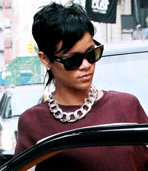 Rihanna Shaded Pixie Cuts with Long Fringes