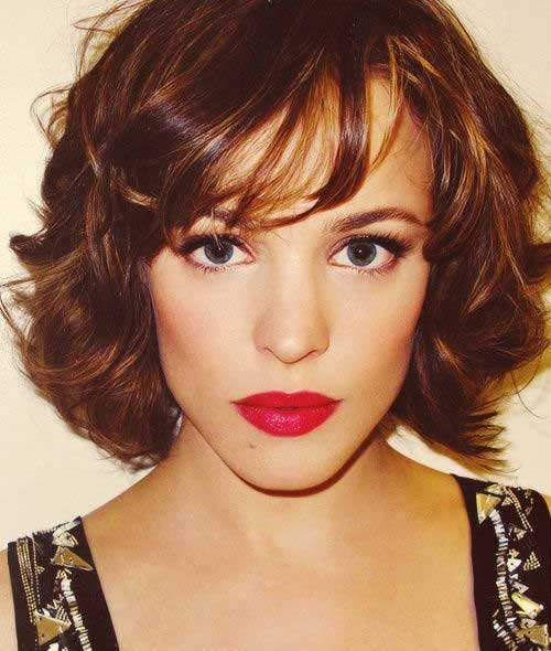 Rachel McAdams Short Curly Hairstyles for Thick Hair