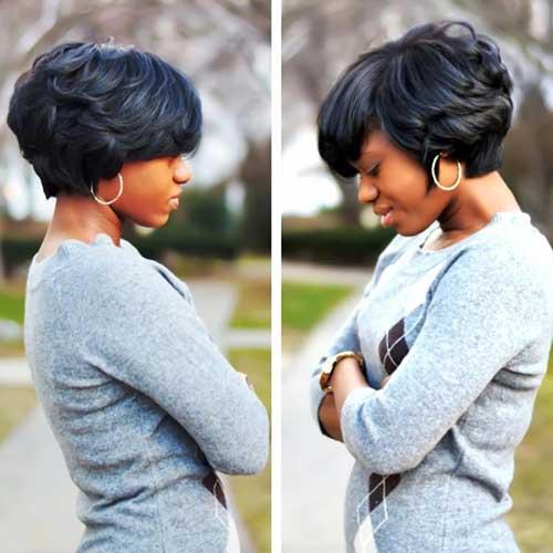 Cute Black Short Wavy Bob Hairstyles