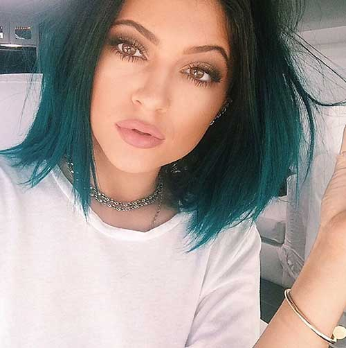 Kylie Jenner Green-Blue Hair Idea for Short Hair