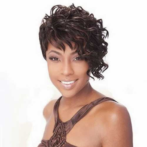 Thick Short Natural Curly Hairstyles with Side Bangs