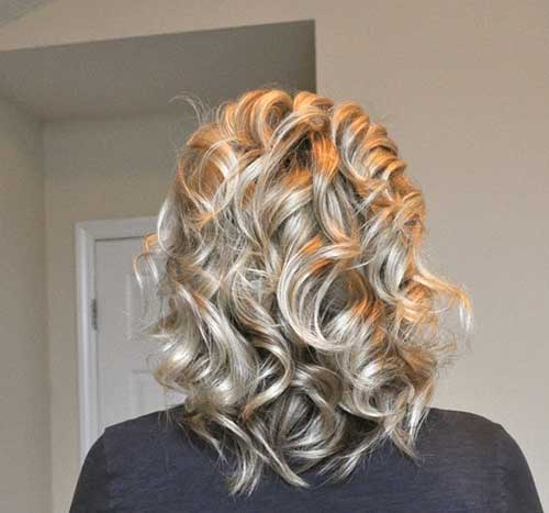 Shinny Blonde Curly Hair Back View