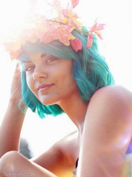 Cute Blue Hair Color for Girls Style 2015