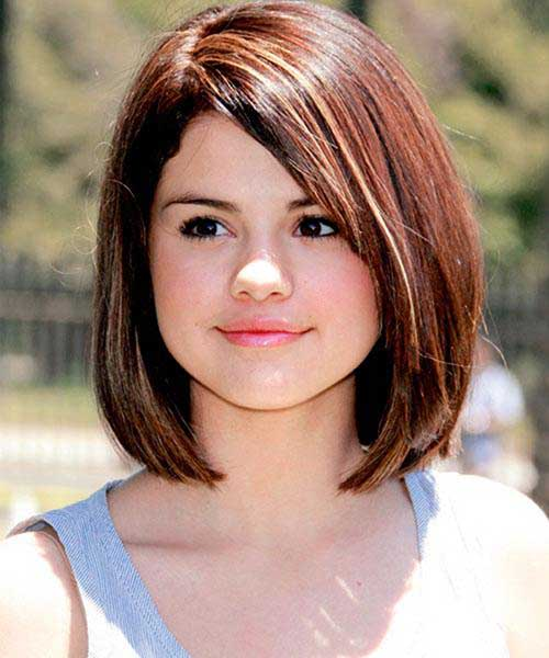 Shinny Brown Hairstyles for Round Faces
