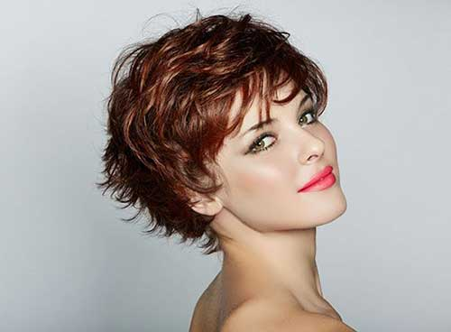 Red Brown Wavy Pixie Haircut