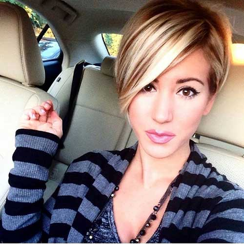 Brown Short Bob with Blonde Highlights