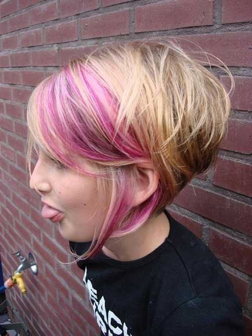 Colored Short Graduated Haircut for Trendy Girls 2015