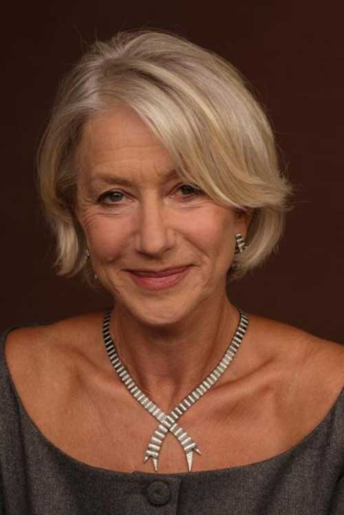 Helen Mirren Casual Side Apart Bob for Older Women