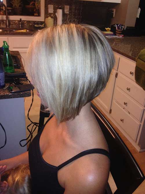 Stacked Bob Haircut and Blonde Color