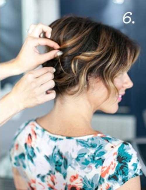 Updos for Short Brunette Hair Blonde Lights