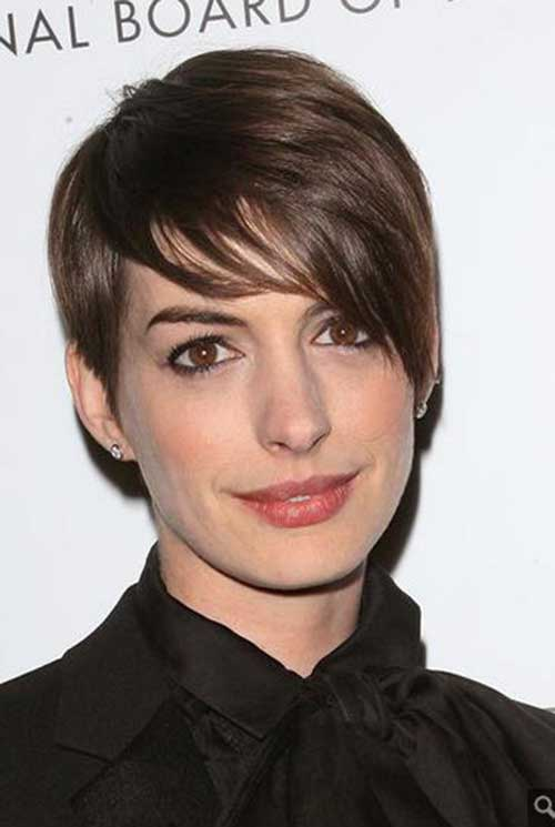 Anne Hathaway Pixie with Long Bangs