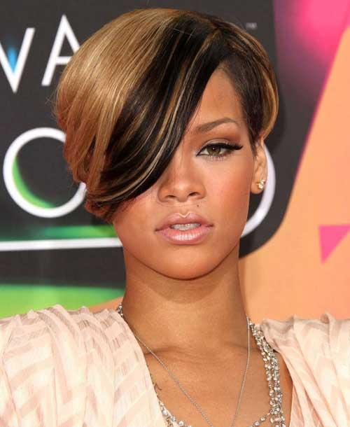 Rihanna Blonde Color Hair Idea for Black Women