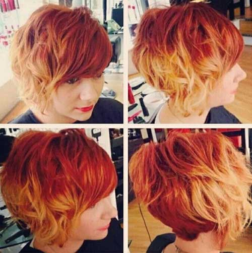 Blonde Red Colored Short Hair for Girls