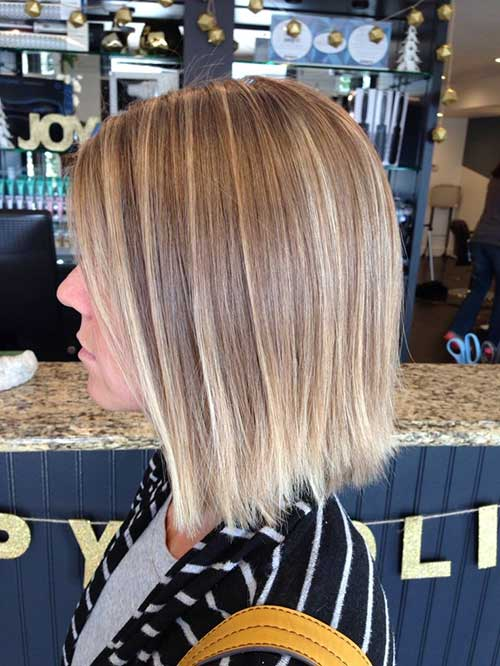 Blonde Short Straight Hair with Balyage