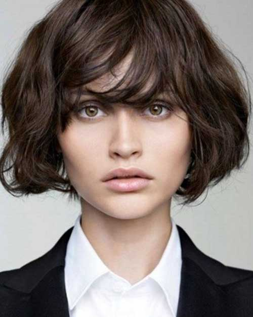 Short Bob Haircut with Bangs for Thick Hair