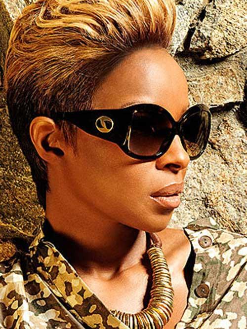 Mary J Blige Chic Blonde Short Hair for Black Women
