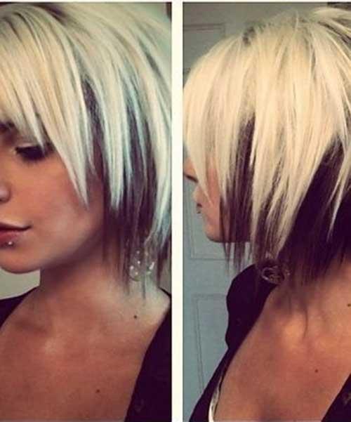 Short Black Hair with Blonde Underneath