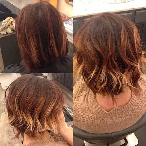 Dark Red Blonde Ombre for Short Hair