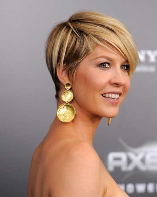 Jenna Elfman Short Pixie Hair with Long Bangs