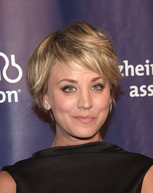Kaley Cuoco Hair with Bangs for Round Face Hairstyle
