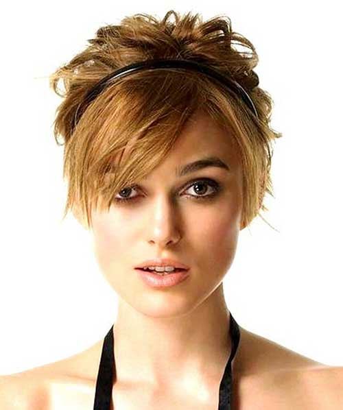 Keira Knightley Short Hairstyles with Long Bangs
