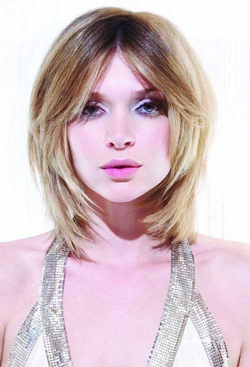 Layered Bangs for Round Face Short Hairstyles