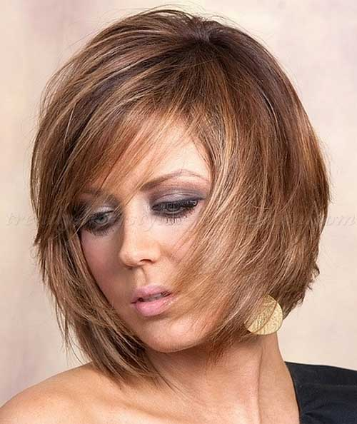 Layered Bob Balayage Hairstyles with Side Bangs