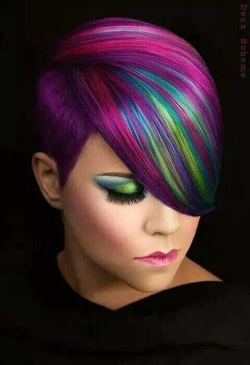 Multi Colored Streaks in Hair Multi Colored Streaks With