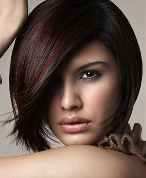Red Highlights on Brown Bob Hair
