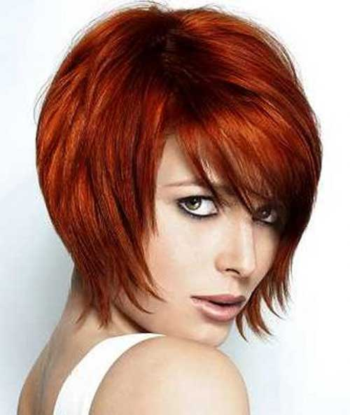 Red Thick Short Hairstyles with Bangs