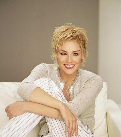 Sharon Stone Layered Pixie Haircut