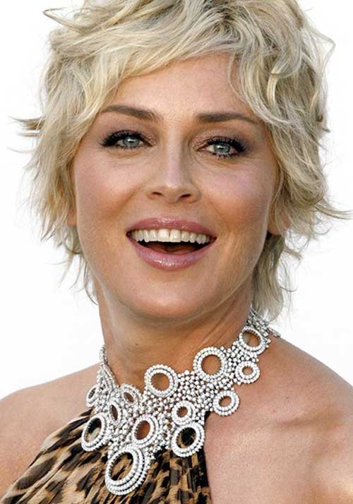 Sharon Stone Short Wavy Haircut