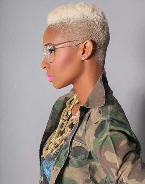 Side Shaved Blonde Pixie for Black Women