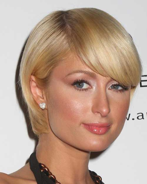 Short Blonde Bob Hair for Round Face with Bangs