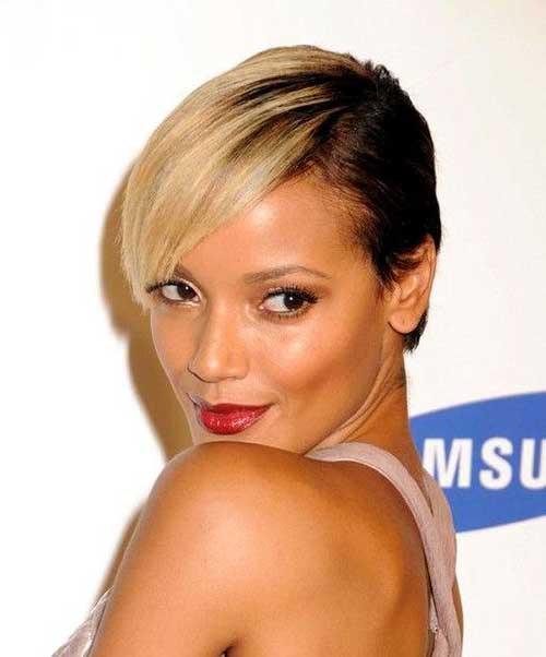 Trendy Short Blonde Hair on Black Women