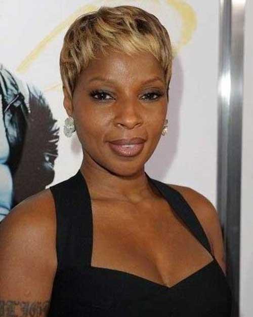 Short Blonde Pixie Haircut Idea for Black Women