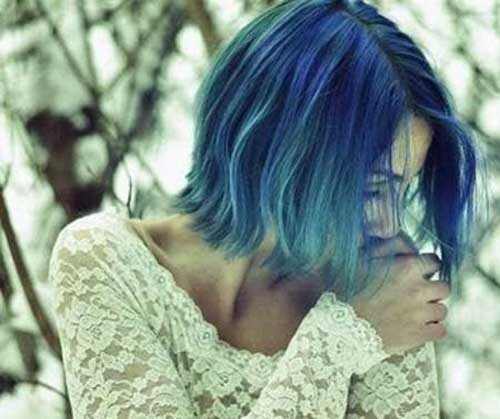 Short Blue Colored Hairstyles