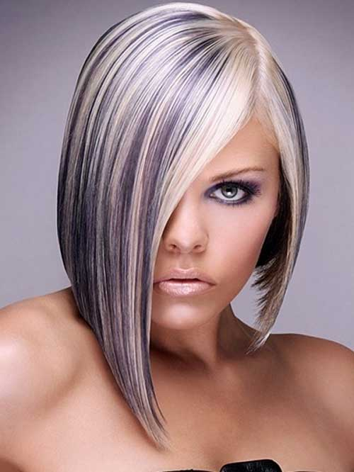 Colored Streaks Hair Short Blonde Hair With Color