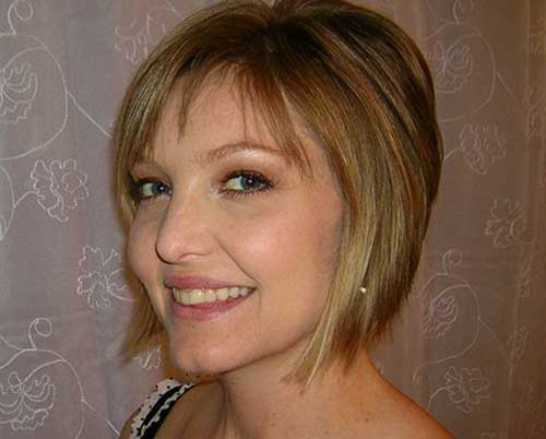Short Hair with Thin Bangs for Round Face
