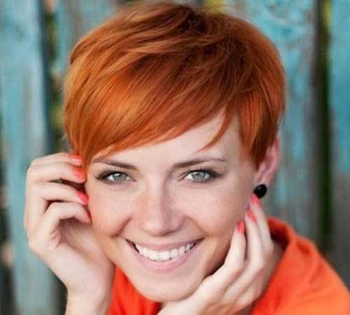 Red Short Haircuts with Bangs for Round Faces