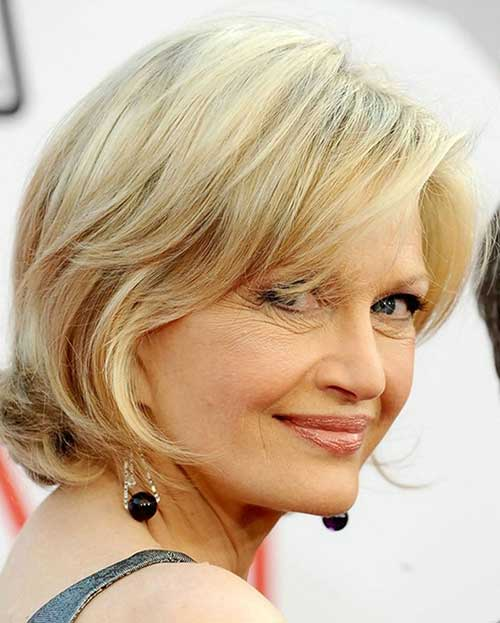 Short Side Swept Haircuts for Mature Women