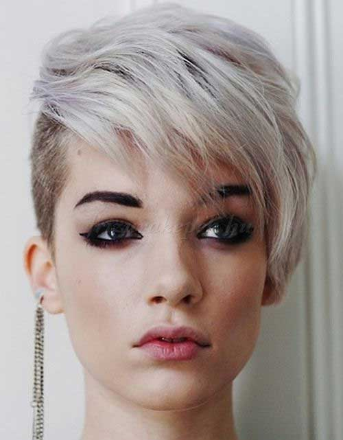 Short Silver Hair with Shaved Undercut
