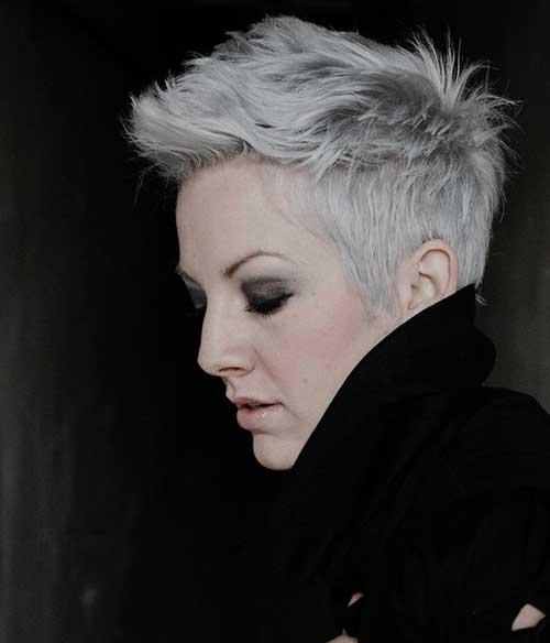 Silver Grey Spikey Pixie Hair