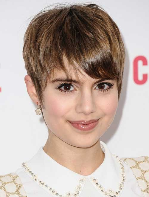 Short Thick Pixie with Straight Bangs