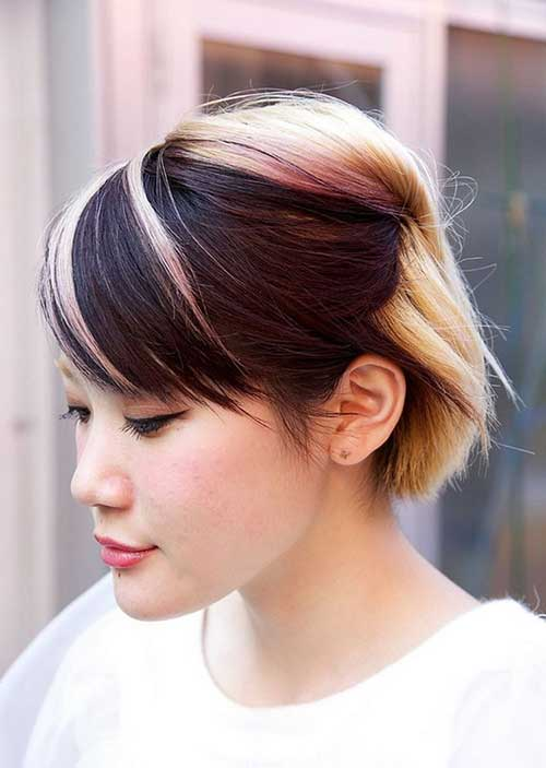 Two Tone Hair Color Ideas for Asian Short Hair