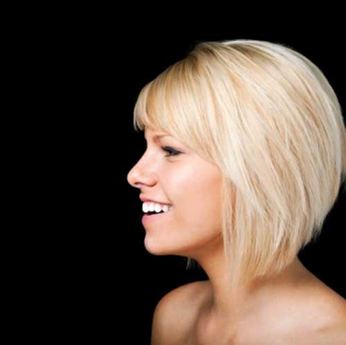 Angled Short Bob Cut with Side Bangs