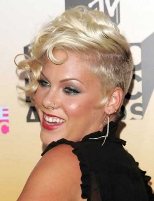 Blonde Nice Curly Pixie Hairstyles 2015